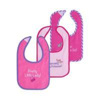 Слюнявчик Luvable Friends 3 шт с надписями, розовый Фото