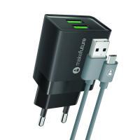 Зарядное устройство MakeFuture 2.4A 2USB Auto-ID Black + кабель MicroUSB Фото
