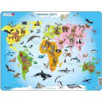 Пазл Larsen рамка-вкладыш Карта Африки - животный мир Фото