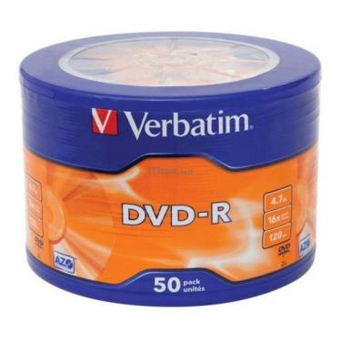 Диск DVD Verbatim 4.7Gb 16X Spindle Wrap box 50шт (43731) - фото 1