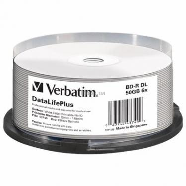 Диск BD Verbatim DL 50Gb 6x Cake 25 Printable (43749) - фото 1